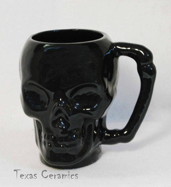 Ceramic Black Skull Mug