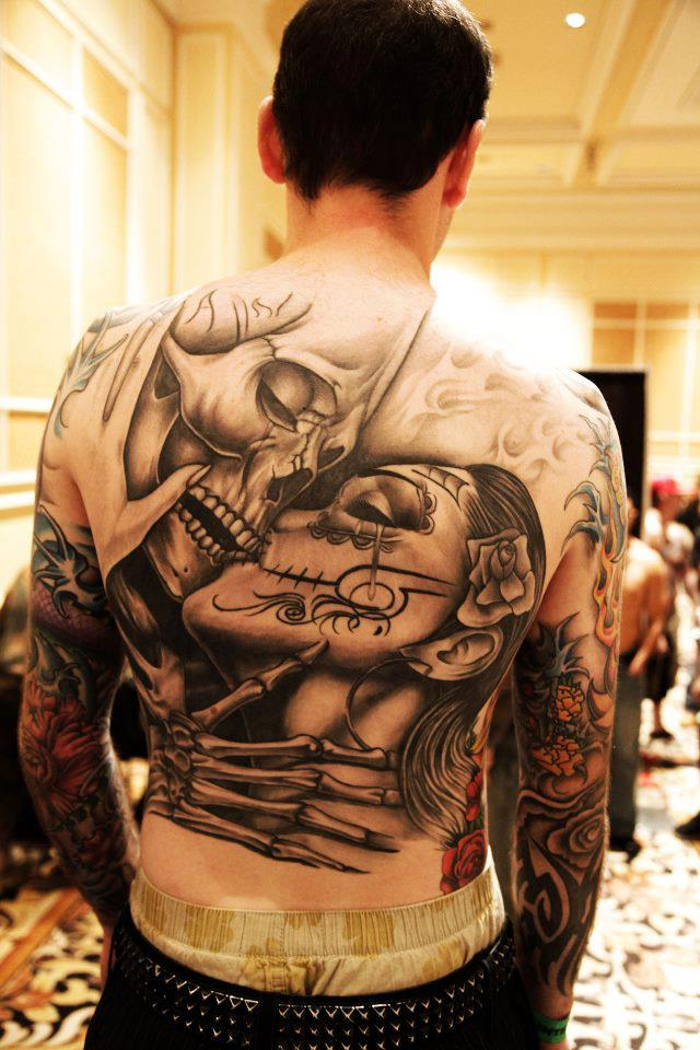 Full back skull tattoo
