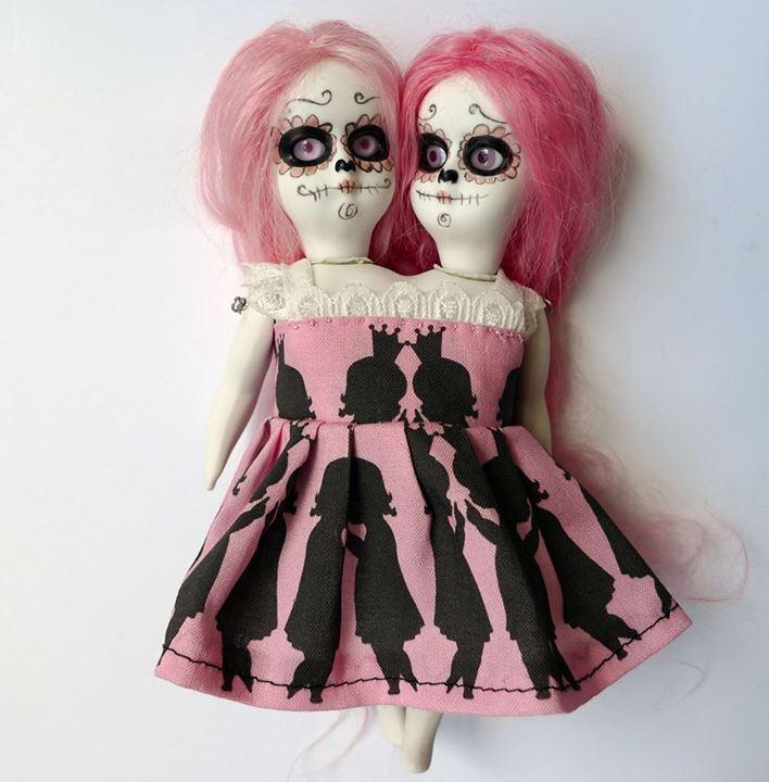 Handmade porcelain sugar skull dolls 1
