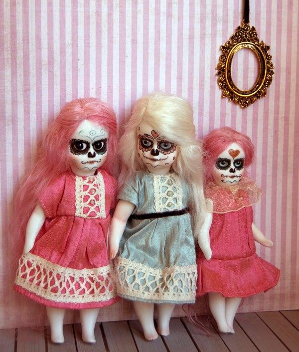 Handmade porcelain sugar skull dolls