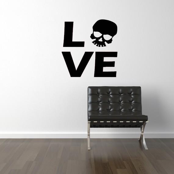 Love vinyl skull wall decal