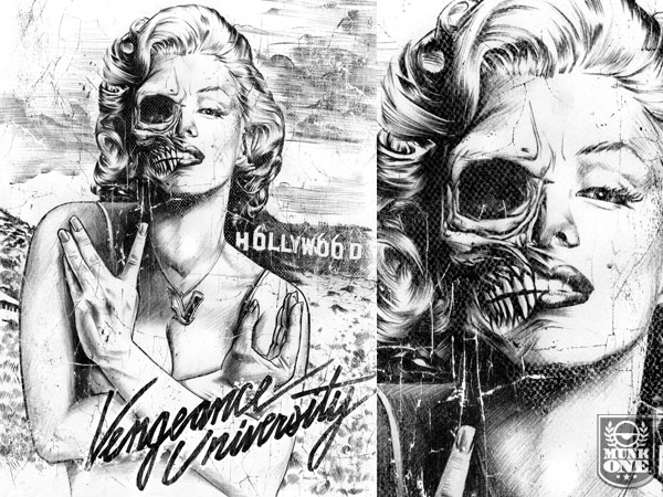 Marilyn Monroe half skull face