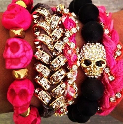 Ppink and black skull bracelets