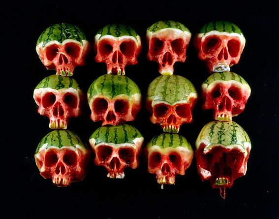 Skulls carved out of Fruit and Veggies