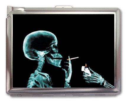 Smoking Skull Cigarette Case Lighter