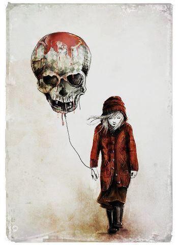 skull balloon illustration