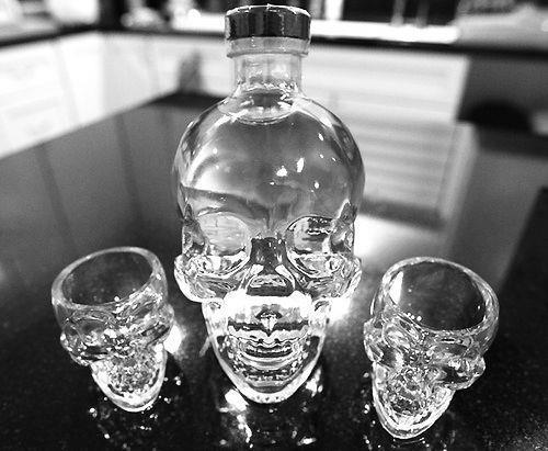 Skull bottle and shot glasses