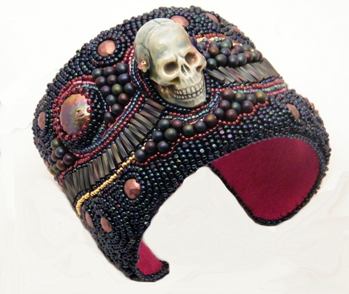 Beaded skull cuff