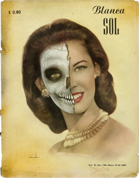 Beautiful women half skull poster