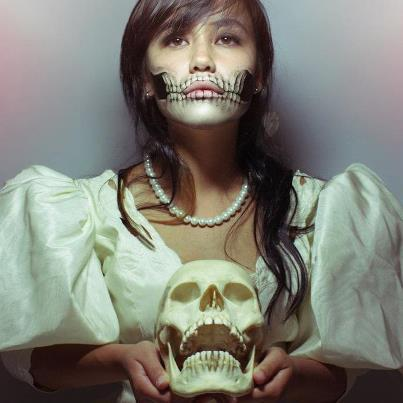Bride with skull makeup