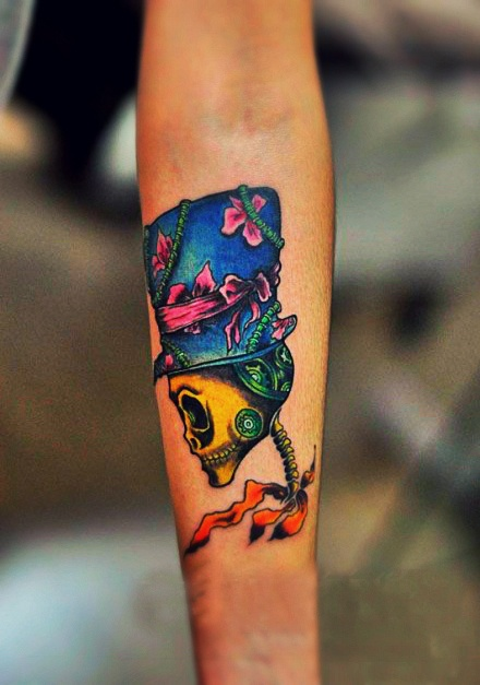 Colorful skull tattoo
