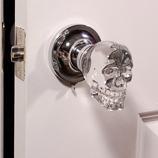 Crystal skull door knob