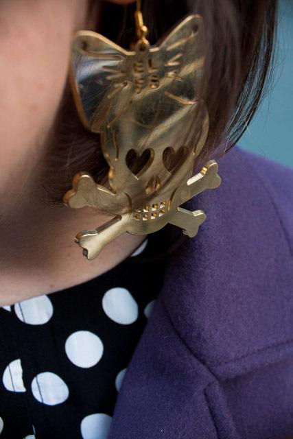 Gold skull and bones earrings