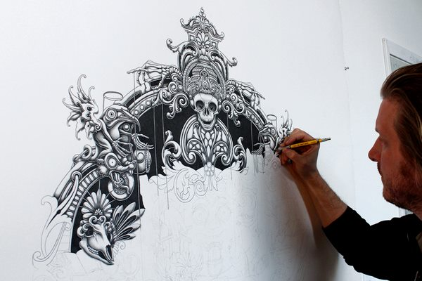 Hand drawn skulls illustration by Joe Fenton