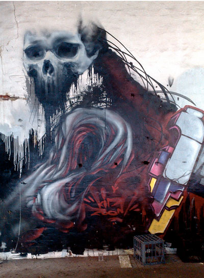 Kid Zoom skull graffiti