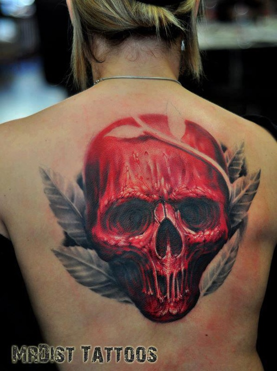 Large red skull tattoo