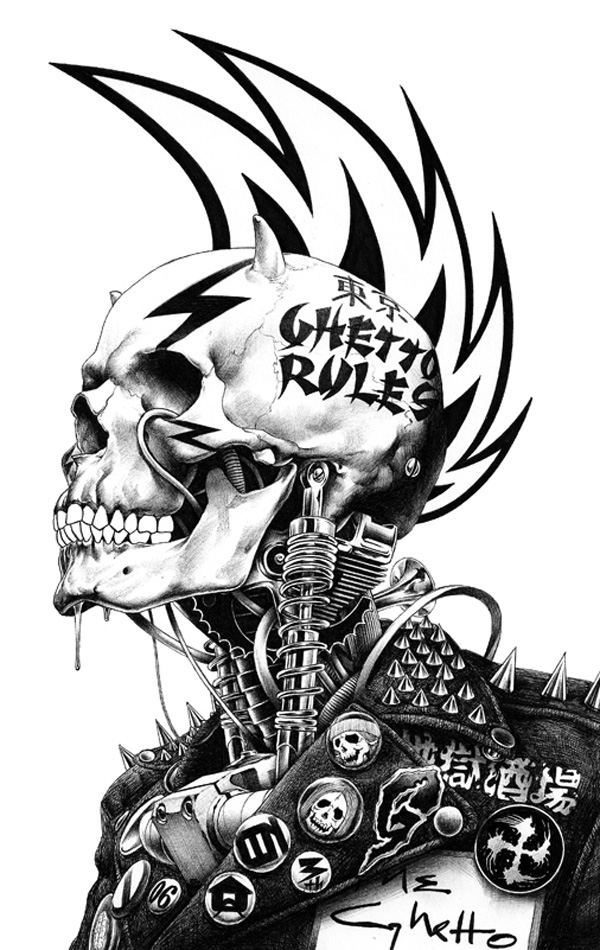 Skull ballpoint pen drawing by Shohei Otomo