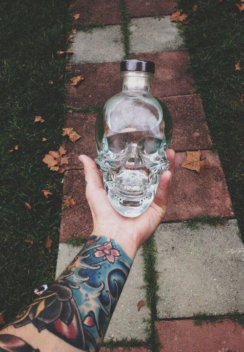Skull vodka bottle