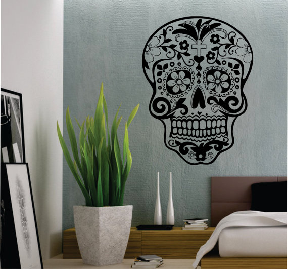 sugar skull wall vinyl decal - Wall Vinyl Designs