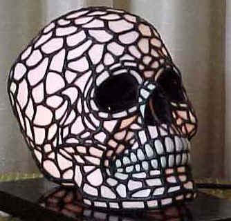 Black and white skull lamp