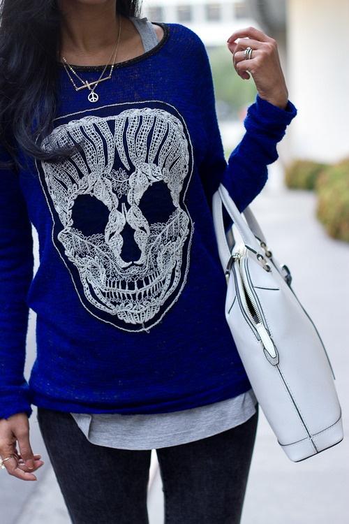 Cobalt skull knit
