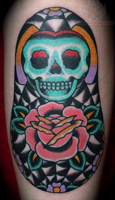 Matryoshka with skull tattoo 1