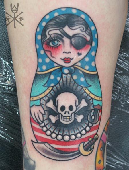 Matryoshka with skull tattoo 2