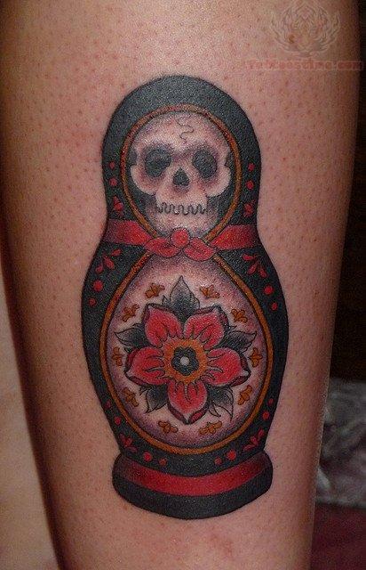 Matryoshka with skull tattoo 3