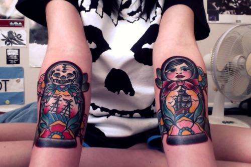 Matryoshka with skull tattoo