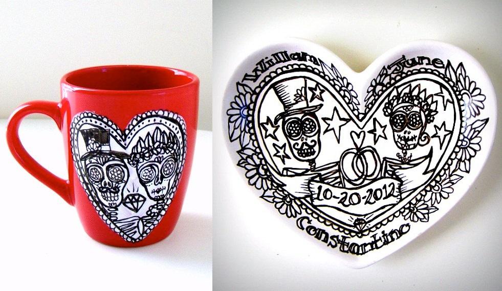 Mexican skull mug and dish