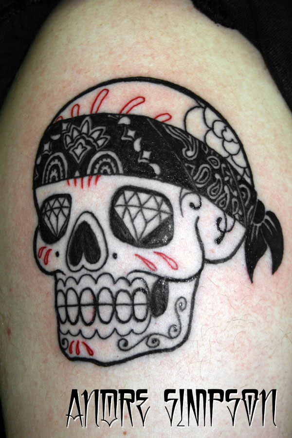 Mexican sugar skull tattoo by ERASOTRON