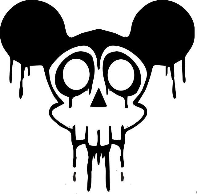 Mickey Mouse skull cartoon