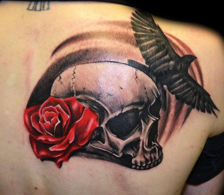 Raven Skull Rose