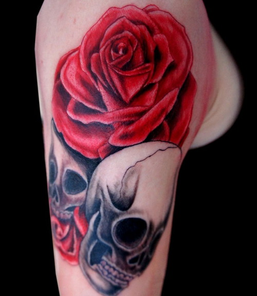 Rose Skulls Tattoo Design
