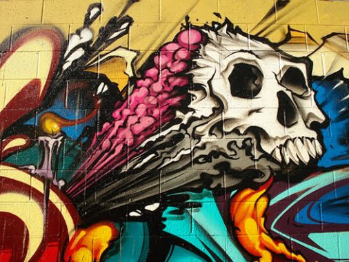 Skull Graffiti Mural Art