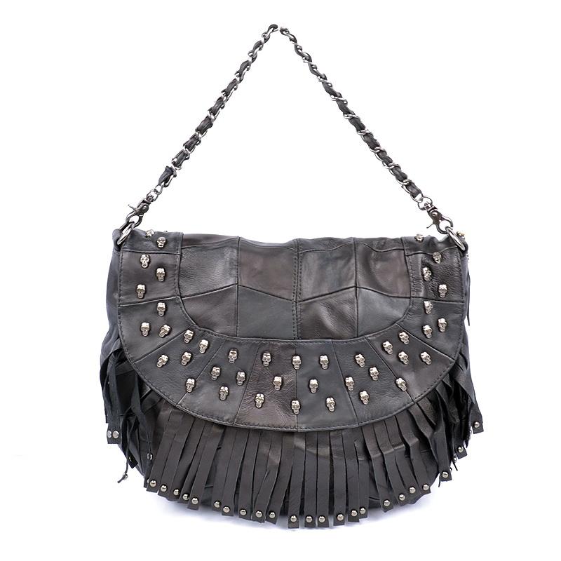 Skull Knuckle Leather Handbag