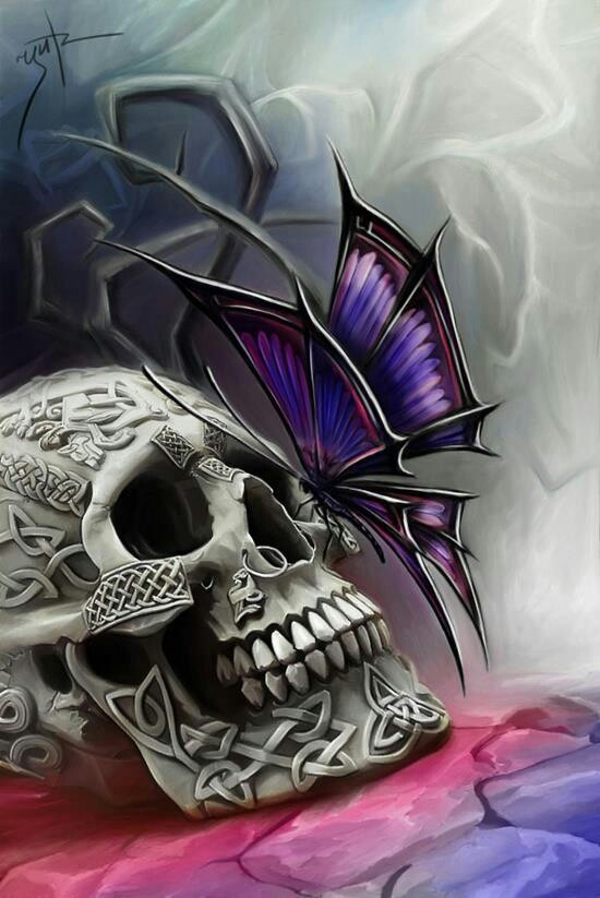 Skull and butterfly art