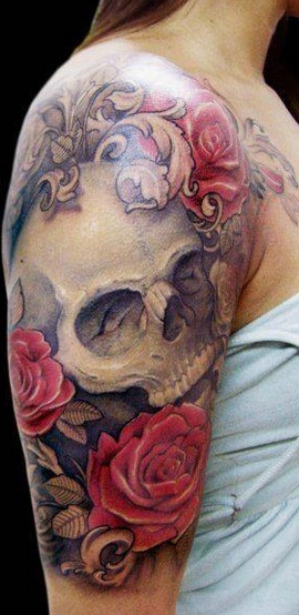 Skull and roses tattoos