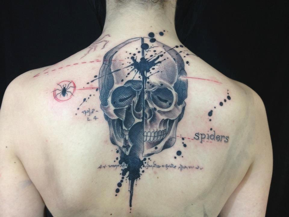 Skull tattoo by Pietro Romano aka P'Ink