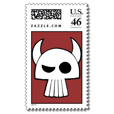 cartoon skull postage stamp