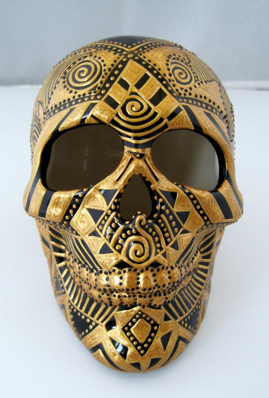 ceramic gold skull