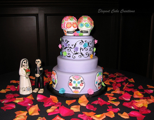 dia de los muertos cake with skull