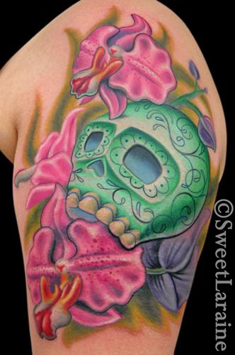 green sugar skull