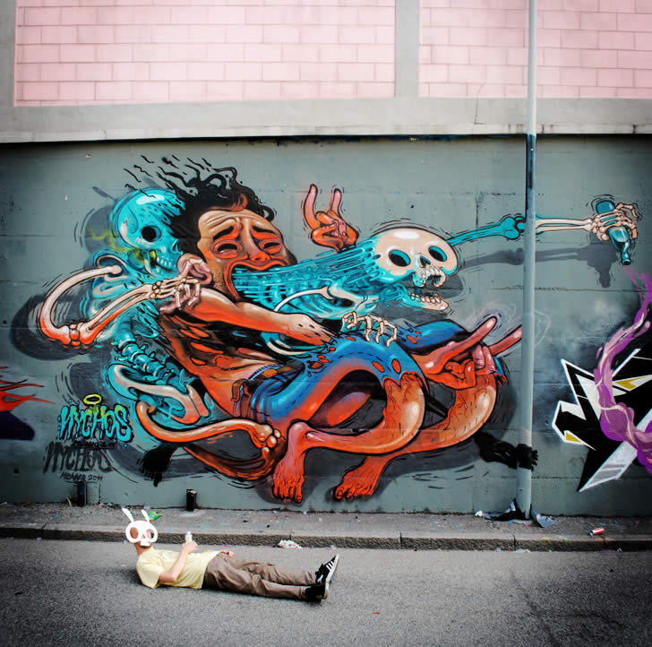 nychos skeleton graffiti art