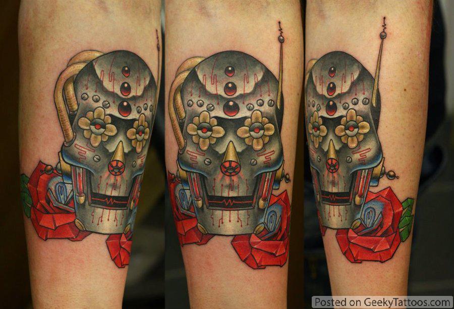 robot candy skull tattoo