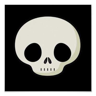 simple cartoon skull poster