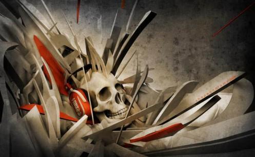 skull 3d graffiti
