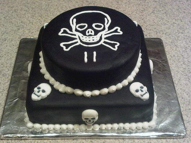 skull and bones cake
