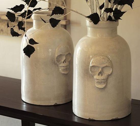 skull ceramic vase