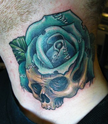 skull rose morph neck tattoo